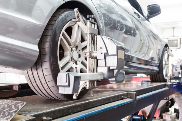 Wheel alignment being performed